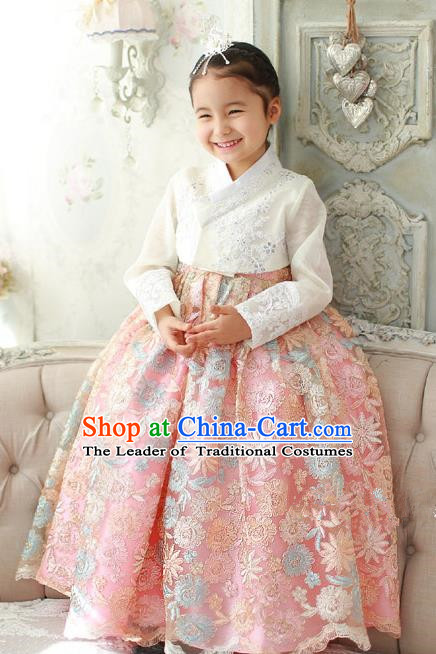 Asian Korean Traditional Handmade Formal Occasions Girls Embroidered White Blouse and Pink Lace Dress Costume Hanbok Clothing for Kids