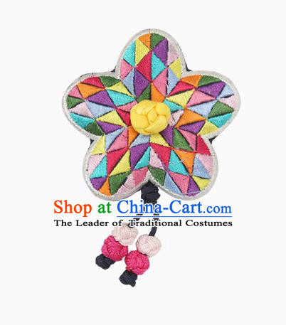 Traditional Korean Hair Accessories Embroidered Flower Hair Claw, Asian Korean Hanbok Fashion Headwear Hair Stick for Kids