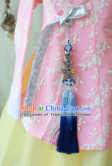 Traditional Korean Accessories Blue Tassel Butterfly Waist Pendant, Asian Korean Fashion Wedding Tassel Waist Decorations for Kids