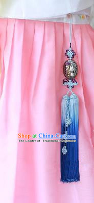 Traditional Korean Accessories Blue Tassel Waist Pendant, Asian Korean Fashion Wedding Tassel Hanbok Waist Decorations for Women