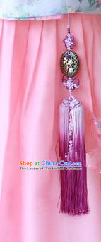 Traditional Korean Accessories Purple Tassel Waist Pendant, Asian Korean Fashion Wedding Tassel Hanbok Waist Decorations for Women