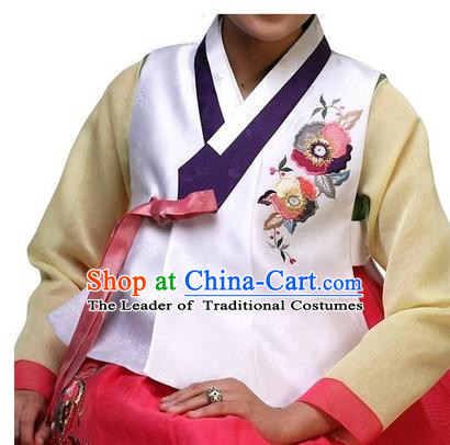 Asian Korean Traditional Handmade Formal Occasions Girls Costume Embroidered White Vests Hanbok Clothing for Kids