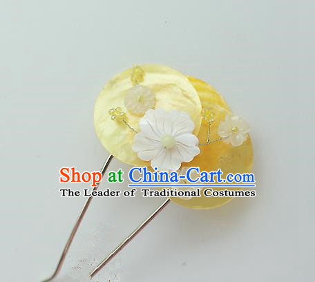 Traditional Korean National Hair Accessories Yellow Shell Flower Hairpins, Asian Korean Fashion Wedding Hanbok Hair Decorations Headwear for Women