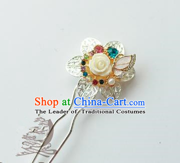 Traditional Korean National Hair Accessories Flower Hairpins, Asian Korean Fashion Wedding Hanbok Hair Decorations Headwear for Women