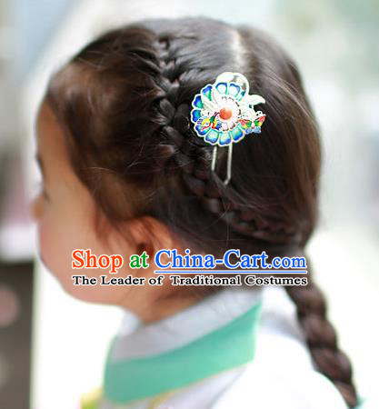 Traditional Korean National Hair Accessories Wedding Blueing Hairpins, Asian Korean Fashion Hanbok Hair Stick Headwear for Women