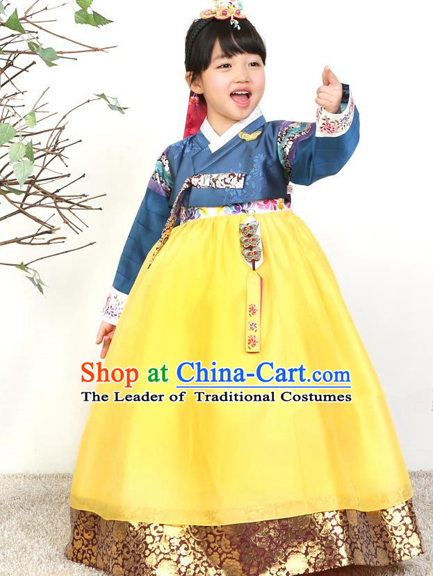 Asian Korean National Traditional Handmade Formal Occasions Girls Embroidered Blue Blouse and Yellow Dress Costume Hanbok Clothing for Kids