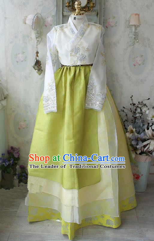 Asian Korean National Traditional Handmade Formal Occasions Embroidered White Blouse and Yellow Dress Costume Wedding Hanbok Clothing for Women
