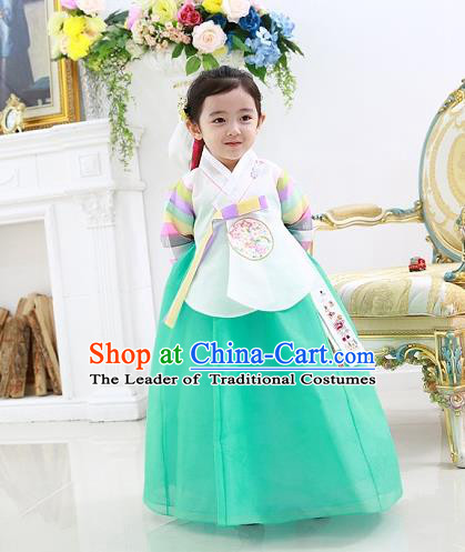 Asian Korean National Traditional Handmade Formal Occasions Embroidered White Blouse and Green Dress Costume Wedding Hanbok Clothing for Girls