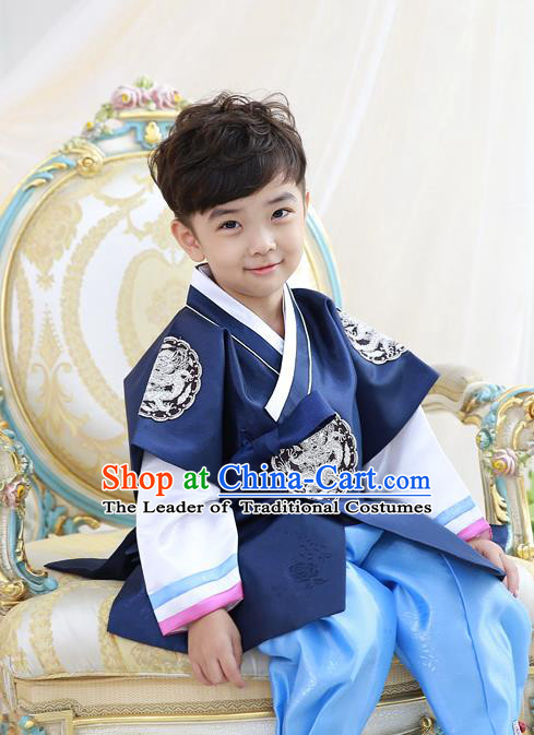 Asian Korean National Traditional Handmade Formal Occasions Embroidered Thronfolger Costume Wedding Deep Blue Hanbok Clothing for Boys