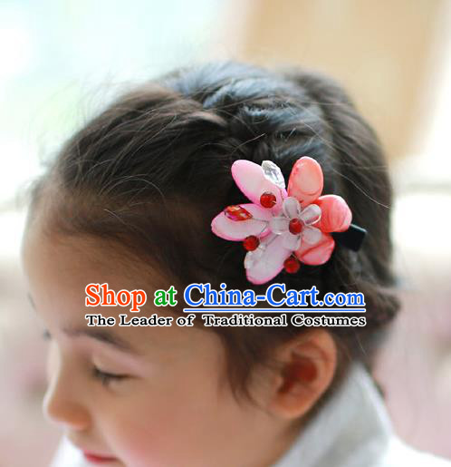 Traditional Korean National Hair Accessories Wedding Princess Pink Flowers Hair Stick, Asian Korean Fashion Hanbok Hair Claw Headwear for Girls