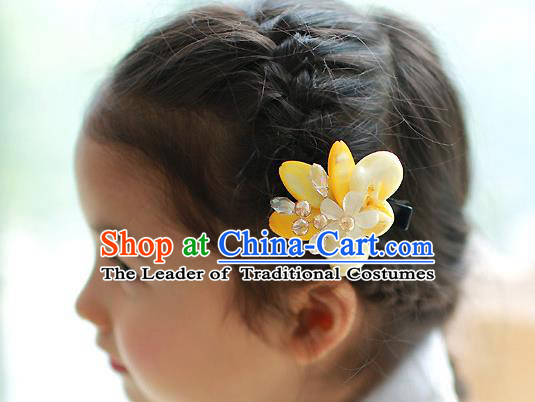 Traditional Korean National Hair Accessories Wedding Princess Yellow Flowers Hair Stick, Asian Korean Fashion Hanbok Hair Claw Headwear for Girls
