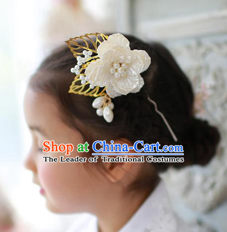 Traditional Korean National Hair Accessories Wedding Princess Shell Flower Hairpins, Asian Korean Fashion Hanbok Hair Stick Headwear for Girls