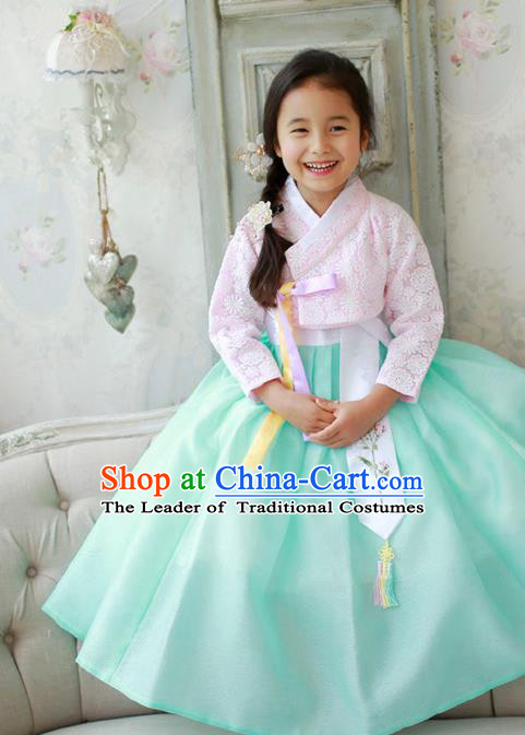 Asian Korean National Traditional Handmade Formal Occasions Girls Embroidered Pink Lace Blouse and Green Dress Costume Hanbok Clothing for Kids