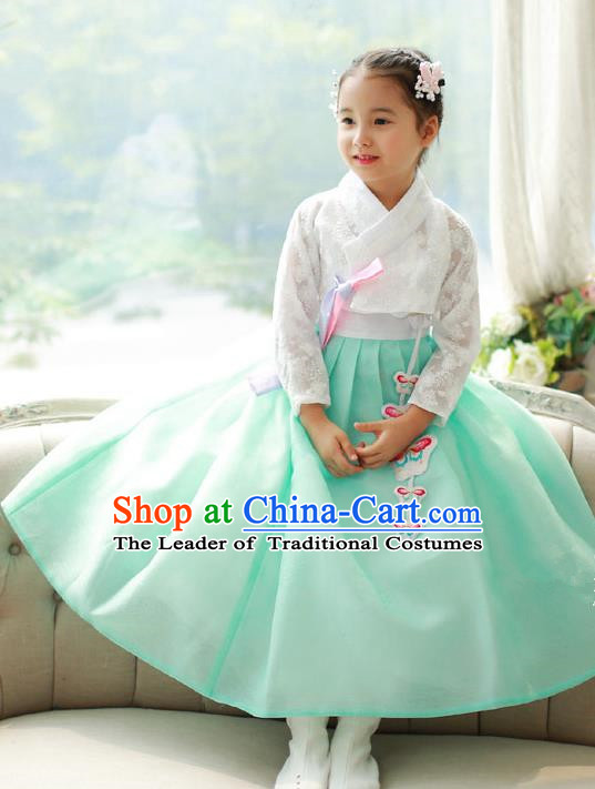 Asian Korean National Traditional Handmade Formal Occasions Girls Embroidered White Lace Blouse and Green Dress Costume Hanbok Clothing for Kids