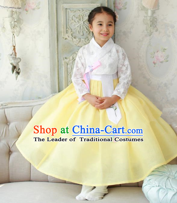Asian Korean National Traditional Handmade Formal Occasions Girls Embroidered White Lace Blouse and Yellow Dress Costume Hanbok Clothing for Kids