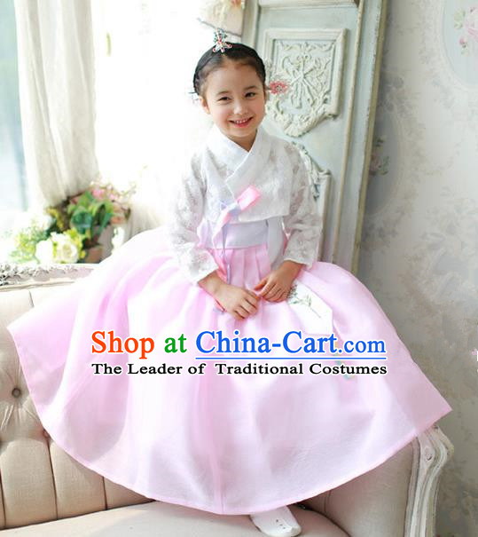 Asian Korean National Traditional Handmade Formal Occasions Girls Embroidered White Lace Blouse and Pink Dress Costume Hanbok Clothing for Kids