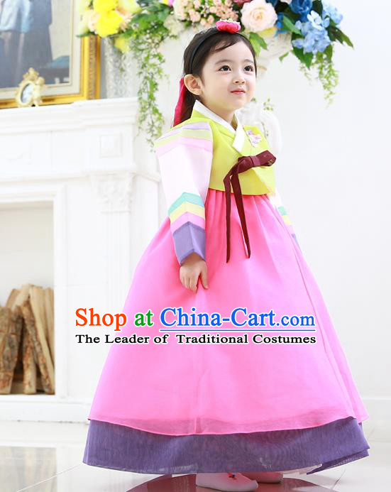 Asian Korean National Traditional Handmade Formal Occasions Girls Embroidered Blouse and Pink Dress Costume Hanbok Clothing for Kids