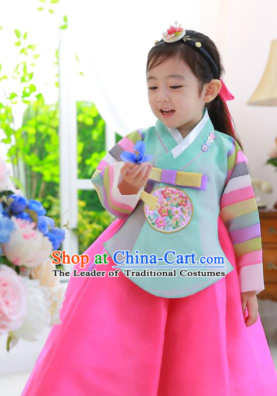 Asian Korean National Traditional Handmade Formal Occasions Girls Embroidered Green Blouse and Dress Costume Hanbok Clothing for Kids