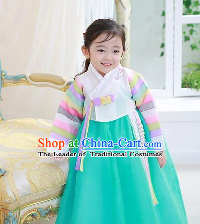 Asian Korean National Traditional Handmade Formal Occasions Girls Embroidered White Blouse and Green Dress Costume Hanbok Clothing for Kids