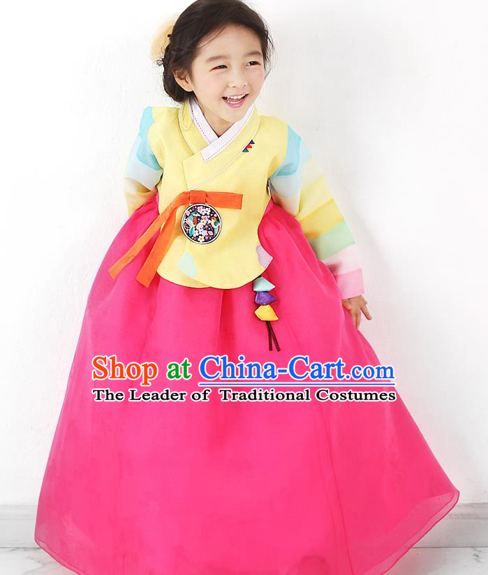 Asian Korean National Traditional Handmade Formal Occasions Girls Embroidered Yellow Blouse and Rosy Dress Costume Hanbok Clothing for Kids