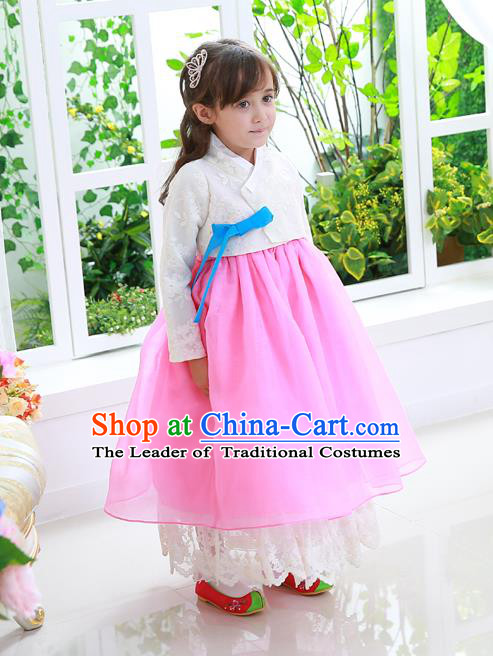 Asian Korean National Traditional Handmade Formal Occasions Girls White Lace Blouse and Pink Dress Costume Hanbok Clothing for Kids