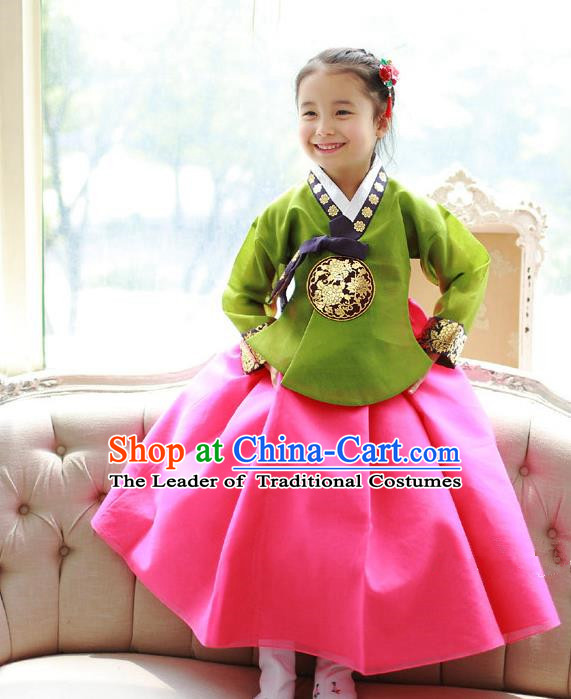 Asian Korean National Traditional Handmade Formal Occasions Girls Embroidery Green Blouse and Rosy Dress Costume Hanbok Clothing for Kids