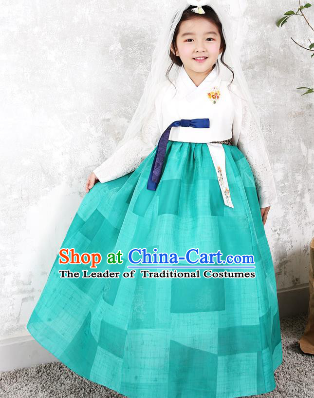 Asian Korean National Traditional Handmade Formal Occasions Girls Embroidery White Blouse and Green Dress Costume Hanbok Clothing for Kids