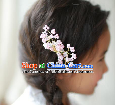 Traditional Korean National Hair Accessories Wedding Princess Pink Beads Hairpins, Asian Korean Fashion Hanbok Hair Claw Headwear for Girls