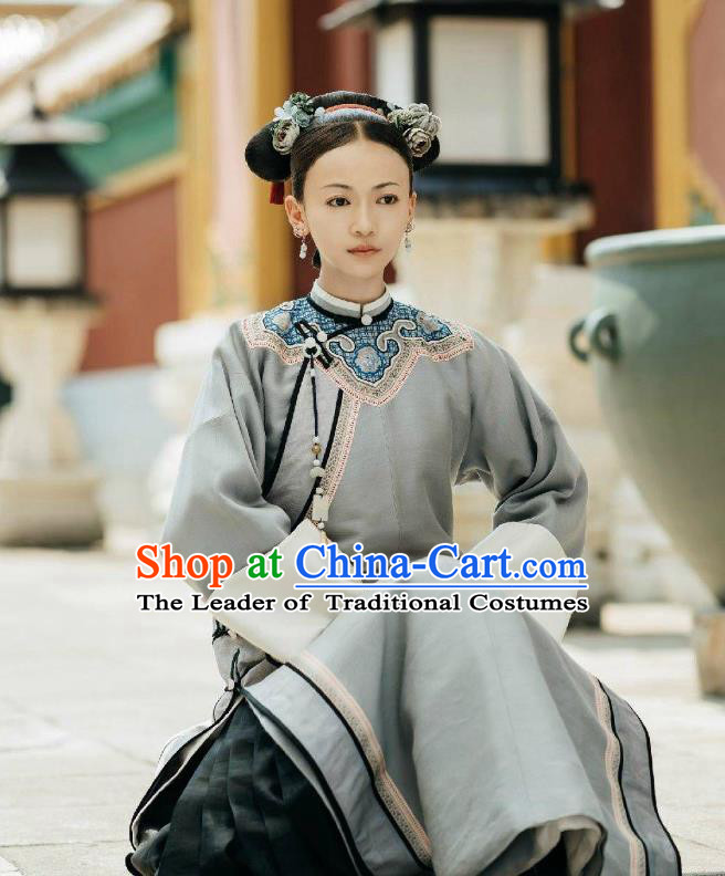 Story of Yanxi Palace Traditional Ancient Chinese Qing Dynasty Young Lady Costume, Chinese Manchu Palace Imperial Consort Embroidered Clothing for Women