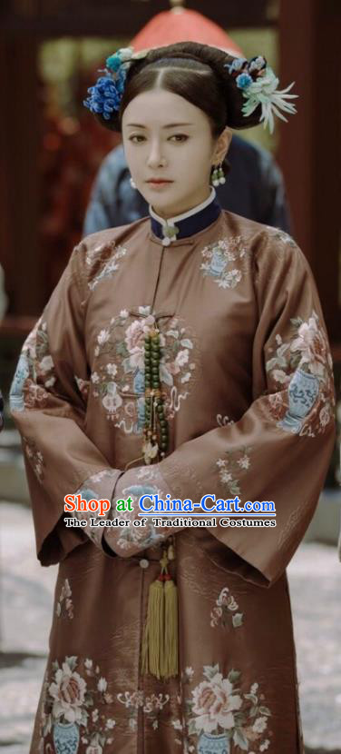 Story of Yanxi Palace Traditional Ancient Chinese Qing Dynasty Imperial Concubine Costume, Chinese Manchu Lady Embroidered Clothing for Women