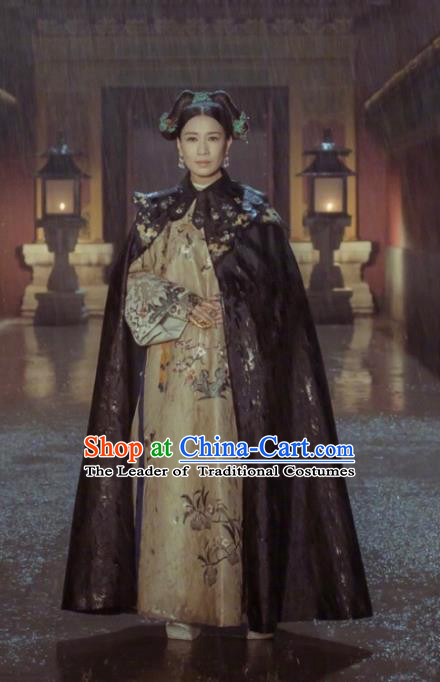 Story of Yanxi Palace Traditional Ancient Chinese Qing Dynasty Imperial Empress Costume, Chinese Manchu Lady Queen Embroidered Clothing for Women