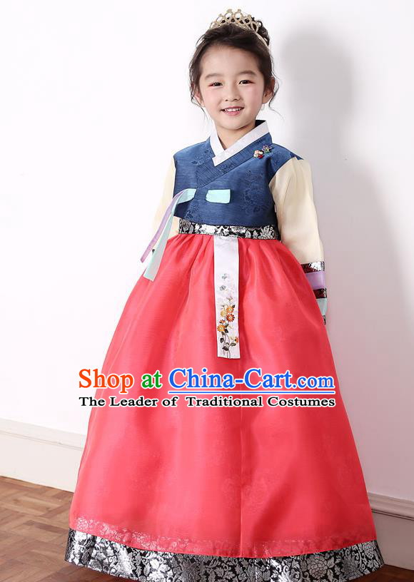 Asian Korean National Traditional Handmade Formal Occasions Girls Embroidery Blue Blouse and Red Dress Costume Hanbok Clothing for Kids