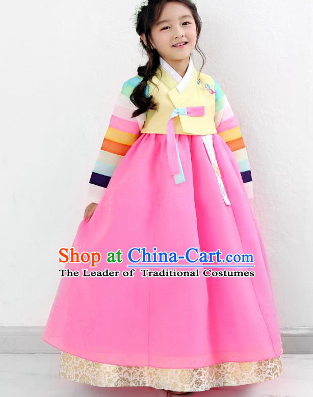 Asian Korean National Traditional Handmade Formal Occasions Girls Embroidery Yellow Blouse and Pink Dress Costume Hanbok Clothing for Kids
