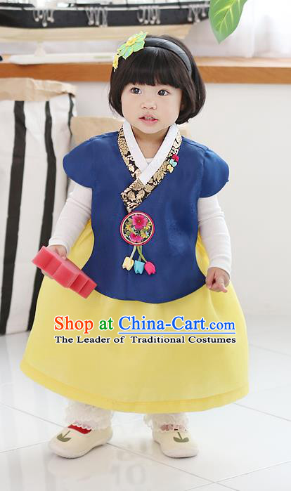 Asian Korean National Traditional Handmade Formal Occasions Girls Embroidery Hanbok Costume Blue Blouse and Yellow Dress Complete Set for Kids
