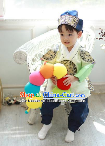 Asian Korean National Traditional Handmade Formal Occasions Boys Embroidery Light Green Hanbok Costume Complete Set for Kids