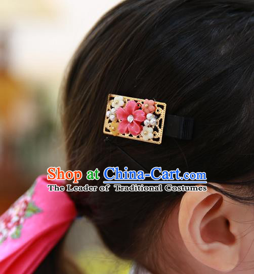 Traditional Korean National Hair Accessories Flowers Hair Stick, Asian Korean Fashion Hanbok Hair Claw for Girls