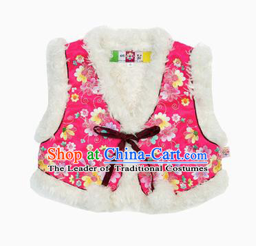 Asian Korean National Traditional Handmade Formal Occasions Girls Hanbok Costume Embroidery Pink Vests for Kids