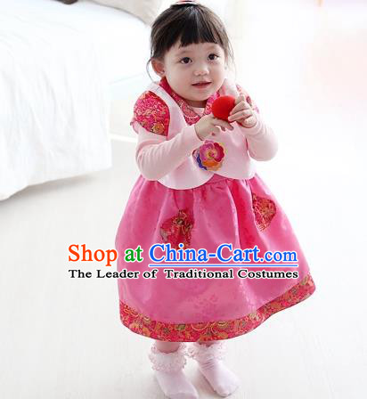 Asian Korean National Traditional Handmade Formal Occasions Girls Embroidery Hanbok Costume Pink Vest and Dress Complete Set for Kids