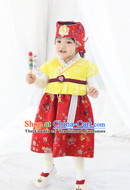Asian Korean National Traditional Handmade Formal Occasions Girls Embroidery Hanbok Costume Yellow Vest and Red Dress Complete Set for Kids