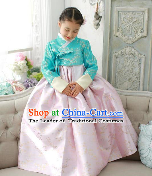 Traditional Korean National Handmade Formal Occasions Girls Embroidery Hanbok Costume Green Blouse and Pink Dress for Kids