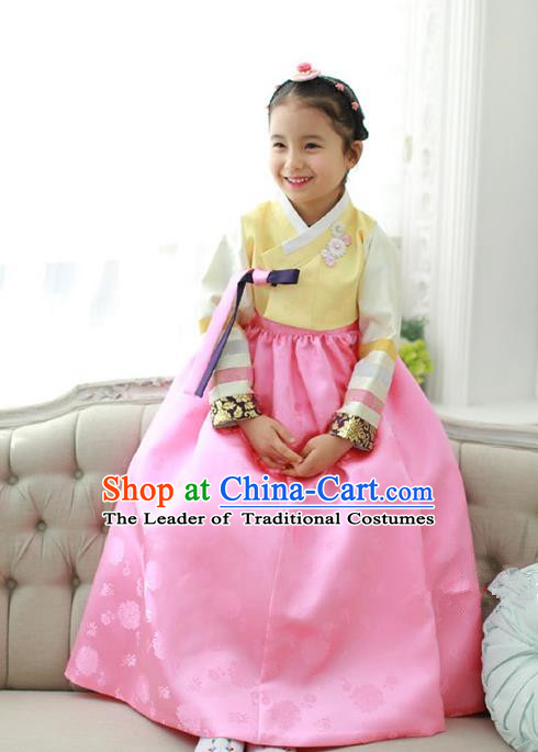 Traditional Korean National Handmade Formal Occasions Girls Embroidery Hanbok Costume Yellow Blouse and Pink Dress for Kids