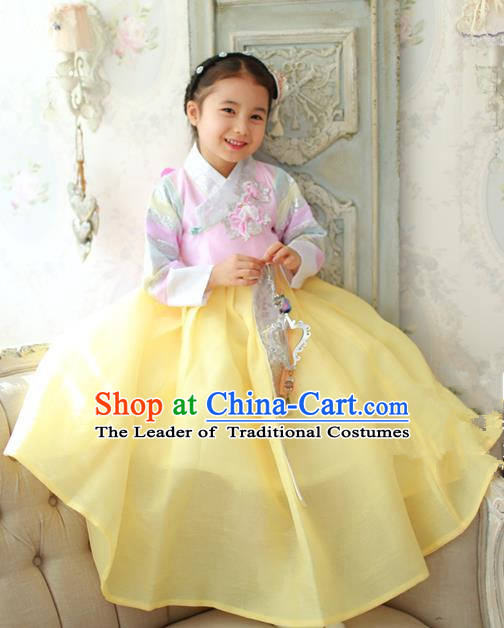 Traditional Korean National Handmade Formal Occasions Girls Hanbok Costume Embroidered Pink Blouse and Yellow Dress for Kids