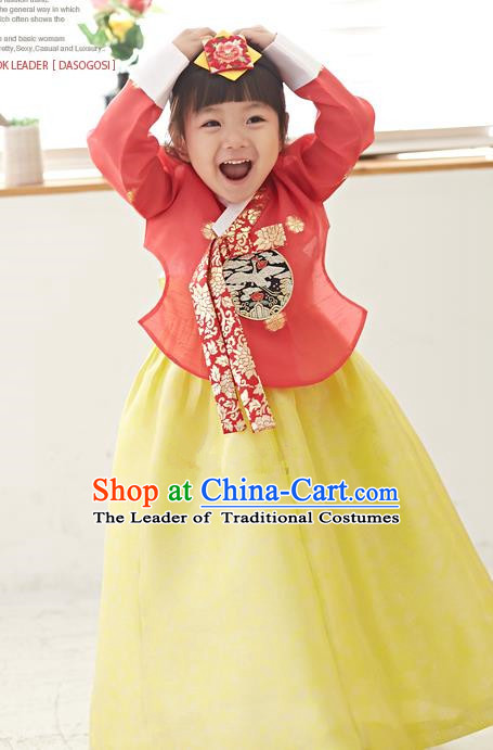 Traditional Korean National Handmade Formal Occasions Girls Hanbok Costume Embroidered Red Blouse and Yellow Dress for Kids