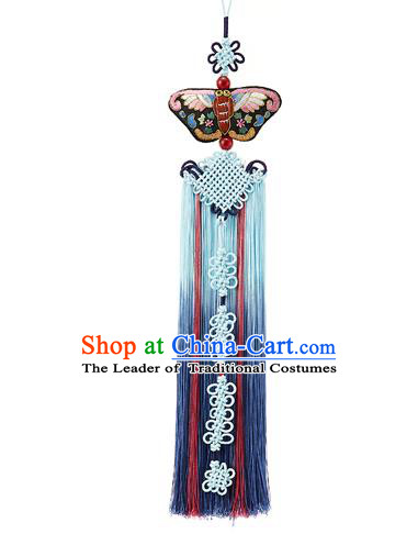 Traditional Korean Accessories Embroidered Waist Pendant, Asian Korean Fashion Wedding Blue Tassel Waist Decorations for Women