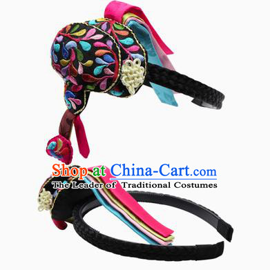 Traditional Korean Hair Accessories Embroidered Black Hair Clasp, Asian Korean Hanbok Fashion Headwear Hanbok Headband for Kids