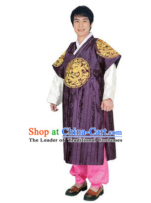 Korean National Traditional Handmade Wedding Embroidery Hanbok Costume, Asian Korean Bridegroom Purple Dragon Robe for Men