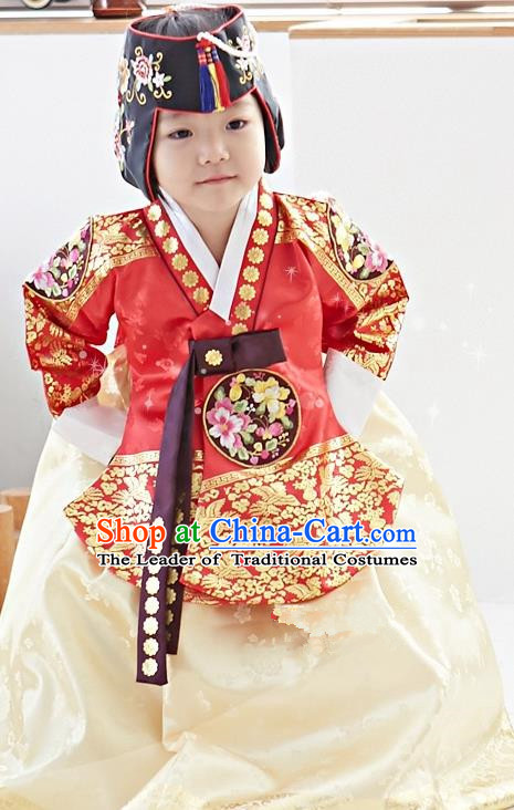 Traditional Korean National Handmade Formal Occasions Girls Palace Hanbok Costume Embroidered Red Blouse and Yellow Dress for Kids