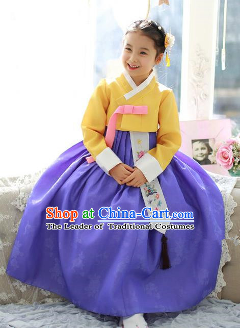 Traditional Korean National Handmade Formal Occasions Girls Palace Hanbok Costume Embroidered Yellow Blouse and Purple Dress for Kids