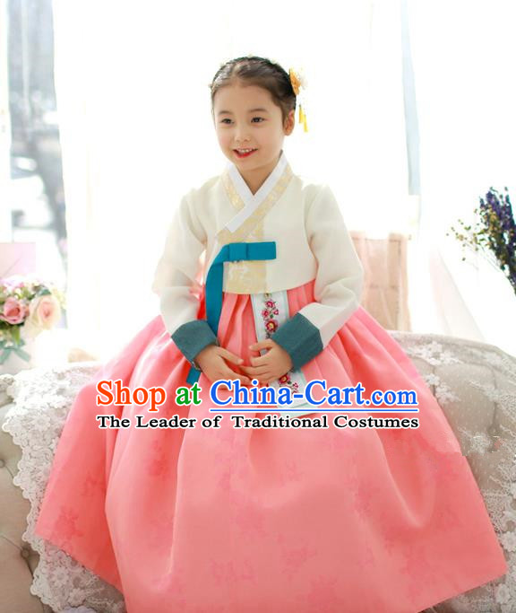 Traditional Korean National Handmade Formal Occasions Girls Palace Hanbok Costume Embroidered White Blouse and Pink Dress for Kids