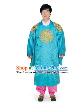 Korean National Traditional Handmade Wedding Embroidery Hanbok Costume, Asian Korean Palace Bridegroom Blue Dragon Robe for Men